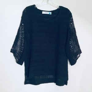 Anthropologie Sparrow Crochet Lace Sleeve Sweater